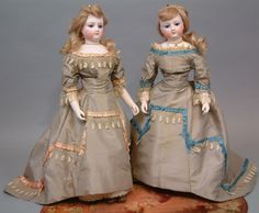 """Two Early 15.5"""" Gaultier Poupees With Wooden & Bisque Arms As Twins With Full Matched Trousseaux.  Kathy Libraty's Antiques"""