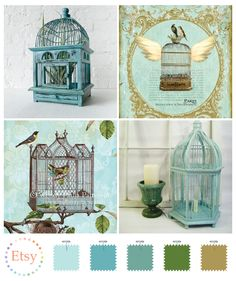 Ornate aqua bird cages. Now aren't these fabulous.