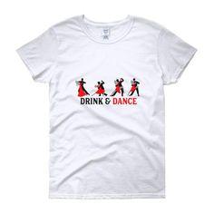DRINK & DANCE WITH COFFEE /Women's short sleeve t-shirt/#coffee#dance#tango#shirt#tee#ladies#white Ladies White, Tee Shirts, Tees, Tango, Drink, Coffee, Lady, Sleeve, Mens Tops