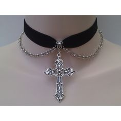 Large Silver Gothic CROSS & CHAIN Velvet BLACK Ribbon Choker - sp... ($6.42) ❤ liked on Polyvore
