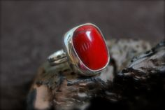 Red Coral set in Sterling SilverRing Size 7.5 by RoseMetalsJewelry, $138.00
