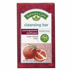 Nature's Gate Cleansing Bar, Pomegranate and Sunflower, 5 Ounce (Pack of 2) by Nature's Gate. $7.58. Triple milled to ensure an even texture, consistently rich and gently cleanse skin with their rich, luxurious, creamy lather. Our plant and vegetable based bar soaps feature naturally derived and biodegradable ingredients soaps. Free of parabens, phthalates, delta, sulfates, synthetic fragrance, colorants, animal derived ingredients and by-products. Cleansing bar ...
