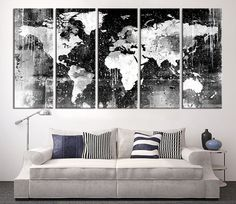Canvas Print Black and White World Map Wall by ExtraLargeWallArt