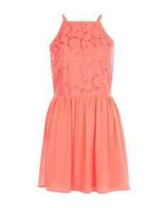 Teens Coral High Neck Lace Dress | New Look
