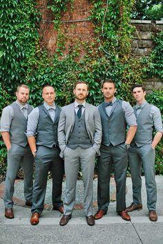 Groomsmen Attire In Classic Style, Vest, Tuxedo And Casual ❤ See more: http://www.weddingforward.com/groomsmen-attire/ #weddings