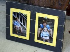 Distressed Picture Frame, Double 4x6 Picture Frames, Gray Wood Picture Frame. $38.00, via Etsy.
