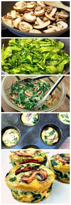 Perfect for a quick, yummy and healthy breakfast on the go - SPINACH QUICHE CUPS - Low-carb and gluten-free! Also great for Christmas, New Year or any holiday brunch! (recipes for snacks healthy) Healthy Breakfast On The Go, Healthy Breakfast Recipes, Best Breakfast, Brunch Recipes, Healthy Snacks, Healthy Eating, Healthy Recipes, Breakfast Quiche, Breakfast Ideas