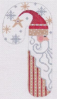 "CHDesigns Needlepoint-Distributed by Danji Designs - 5.25"" SNOWMAN & SANTA CANES"