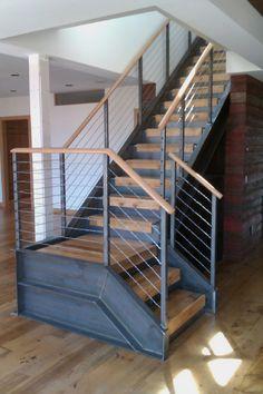 Awesome Loft Staircase Design Ideas You Have To See Awesome Loft Staircase Design Ideas You Have To See - escaleras metalicas para exterior o interior Gallery & Inspiration Loft Staircase, Modern Staircase, House Stairs, Metal Stair Railing, Stair Railing Design, Railings, Hand Railing, Loft Railing, Bannister