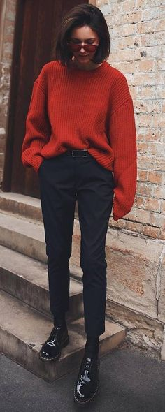 awesome fall outfit _ oversized knit sweater pants boots