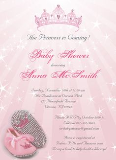 Princess Baby Shower Invitations....perfect for girl baby shower or customized differently for bridal shower.