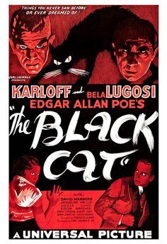 "The Black Cat - Horror Movie Poster Print  13""x19"" - Vintage Movie Poster - Boris Karloff Bela Lugosi Edgar Allan Poe by cinemaArts on Etsy https://www.etsy.com/listing/125128343/the-black-cat-horror-movie-poster-print"