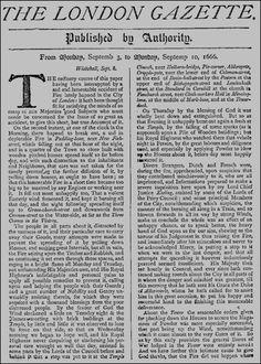 London Gazette report on Great Fire of London, 10 September 1666  Great51.gif (800×1119)
