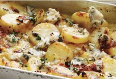 This potato bake is really good with a blue cheese. If you're not partial to blue cheese use a really tasty cheddar instead.