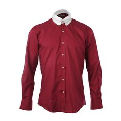 bce68dc18dd5 Claudio Lugli Mens Dark Red Penny Collar Bar Shirt