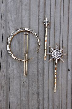 Pave Celestial Hair Pins Pack of 3 - Gold