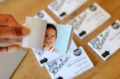 Oh So Beautiful Paper: Theo's Mini Flip Book First Birthday Party Invitations