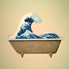 Hokusai wave in a bathtub. Artwork by Ji Dachun.