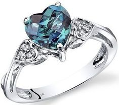 #ValentinesDay #Rings 14K White Gold Created Alexandrite Heart Shape Diamond Ring Classic Style 2.25 Carats