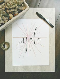 Hand Drawn Illustration Yolo Quote Calligraphy by FrayDesigns