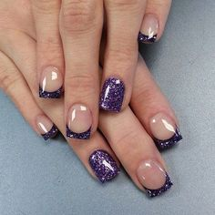 Pretty looking French tips in violet glitter! The nails use clear nail polish as the base coat while coloring the tips in violet nail polish, glitters are also added as a wonderful accent while some of the nails are overall painted in violet glitter.