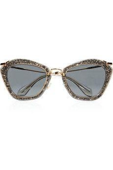 Miu Miu Cat eye-frame glitter acetate and metal sunglasses