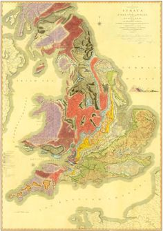 William Smith's 1815 depiction of the geology of England, Wales and part of Scotland, the first map of its kind produced anywhere in the world / The Geological Society, UK Map Of Britain, Map Maker, Map Globe, Historical Maps, Culture, Hand Coloring, Change The World, Geology, Will Smith