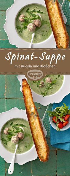 Spinat-Suppe mit Rucola und Klößchen: Cremiges Kräuter-Süppchen mit Fleischbällchen-Einlage und geröstetem Brot