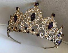 Items similar to Gold Purple Tiara Bridal Crown Crystal Wedding Tiara Wedding Hair Accessory Wedding Headpiece Bridal Hairpiece Swarowski Crystals on Etsy, Bridal Crown, Bridal Tiara, Bridal Hairpiece, Fascinator, Wedding Tiara Hair, Lila Gold, Purple Gold, Purple And Gold Wedding, Tatoo Crown