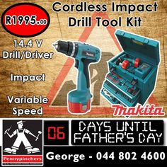 Best Range - Best Price: Makita 14.4 V Cordless Impact Drill Tool Kit only for R1995 - available from Pennypinchers George. This will make a fantastic #FathersDay gift! #Makita #special #powertools