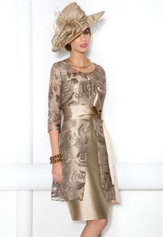 Cabotine Soft Gold Shimmer Dress and Lace Frock Coat Style Donna 6212