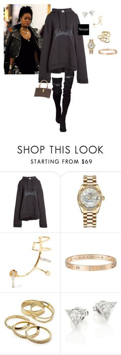 """""""Untitled #29"""" by sbytanyar ❤ liked on Polyvore featuring Vetements, Rolex, Maria Black, Cartier, Kendra Scott and Hearts on Fire"""