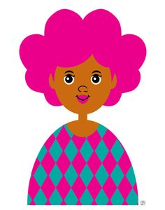 Hey, I found this really awesome Etsy listing at https://www.etsy.com/listing/184844843/girl-5-art-print-childrens-pink-afro