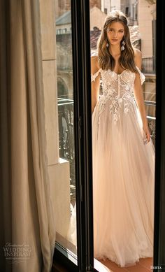 "Wedding Styles berta fall 2019 muse bridal off the shoulder sweetheart neckline heavily embellished bodice bustier tulle skirt romantic blush a line wedding dress mv -- MUSE by Berta 2019 ""Barcelona"" Wedding Dresses Diana Wedding Dress, Plus Wedding Dresses, Western Wedding Dresses, Perfect Wedding Dress, Plus Size Wedding, Bridal Dresses, Trendy Wedding, Fall Wedding, Event Dresses"