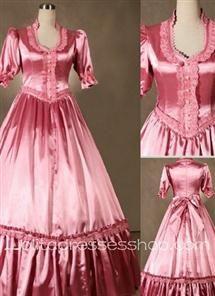 Gothic Victorian Sweet Pink Gorgeous Long Lolita Dress