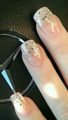 Glitter fade French manicure in acrylic