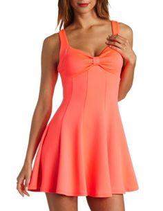 Neon Bow-Front Paneled Skater Dress: Charlotte Russe