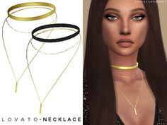 This is a simple metal and fabric band with a small satellite chain accompanied by a long chain and rectangle pendant necklace. Found in TSR Category 'Sims 4 Sets'