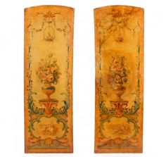 Pair of 19th C. French Oil Painted Wall Panels : Lot 996. Estimated $1,500-$3,000
