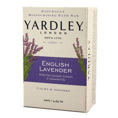 Yardley London Soap Bath Bar, English Lavender & Essential Oils, 4.25 Oz /120 G (Pack of 8) by Yardley London. $15.48. Leave your skin soft and supple with a warm natural scent.. Yardley Of London Gentle Bath Barformulated with Moisturizers and Botanicals.. Yardley Of London With pure lavender extracts & essential oils Bar Soap helps soften and protect your skin Clean and Crisp.. Beautiful aromatherapy experience With pure lavender extracts & essential oils. Calms ...