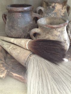 brushes and pots