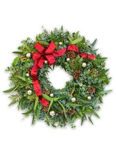 Designer Ornament Eucalyptus Wreath | Balsam Hill Wreaths And Garlands, Holiday Wreaths, Holiday Crafts, Christmas Decorations, Holiday Decorating, Decorating Ideas, Artificial Christmas Wreaths, Balsam Hill, Eucalyptus Wreath