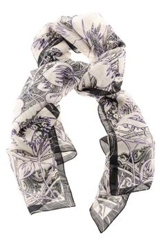 1c08dfdd5 White scarf with black and purple fantasy S/S 16 ETRO