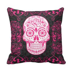cushion pink skull on black white stripe | Hot Pink Black Sugar Skull Roses Gothic Pillow from Zazzle.com