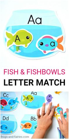 This printable upper and lower case letter matching activity is a fun way to work on letter recognition with your kids! Kids will match colorful alphabet fish with matching fishbowls! #lettermatching #literacycenters #alphabetactivities