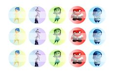 """Inside Out - 1"""" Bottle Cap Designs / DIY Hair Accessories / DIY Earrings / DIY Necklace / DIY Key Chain / Birthday Party / Party Favors / DIY Magnets / Bottle Cap Crafts / Bottle Cap Art / Bottle Cap Ideas / Bottle Cap Party Favors / Children Party Ideas / Children Party Themes / Kid Party Ideas / DIY Party Ideas"""