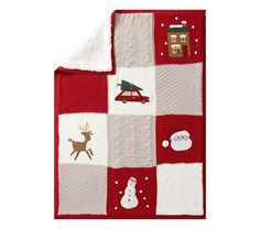 Add some holiday flair to their sleep space with this merry blanket! Inspired by heirloom design, it's knitted from cozy materials that last. Muslin Baby Blankets, Knitted Baby Blankets, Loom Knitting Blanket, Baby Knitting, Stroller Blanket, Twin Quilt, Pottery Barn Kids, Quilt Patterns, Quilts
