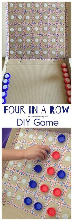 Fun and frugal Four in a Row game, made from a pizza box, bottle tops, Velcro and Washi tape!