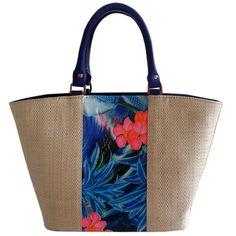 Bolsa em Palha Grande com Estampa Floral Azul com Metais, bolsa grande para praia ou cidade, combina com vários looks, versátil. Flores