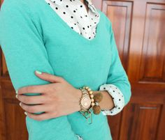 polka dot target shirt layered with turquoise h&m sweater, spring 2014 outfit